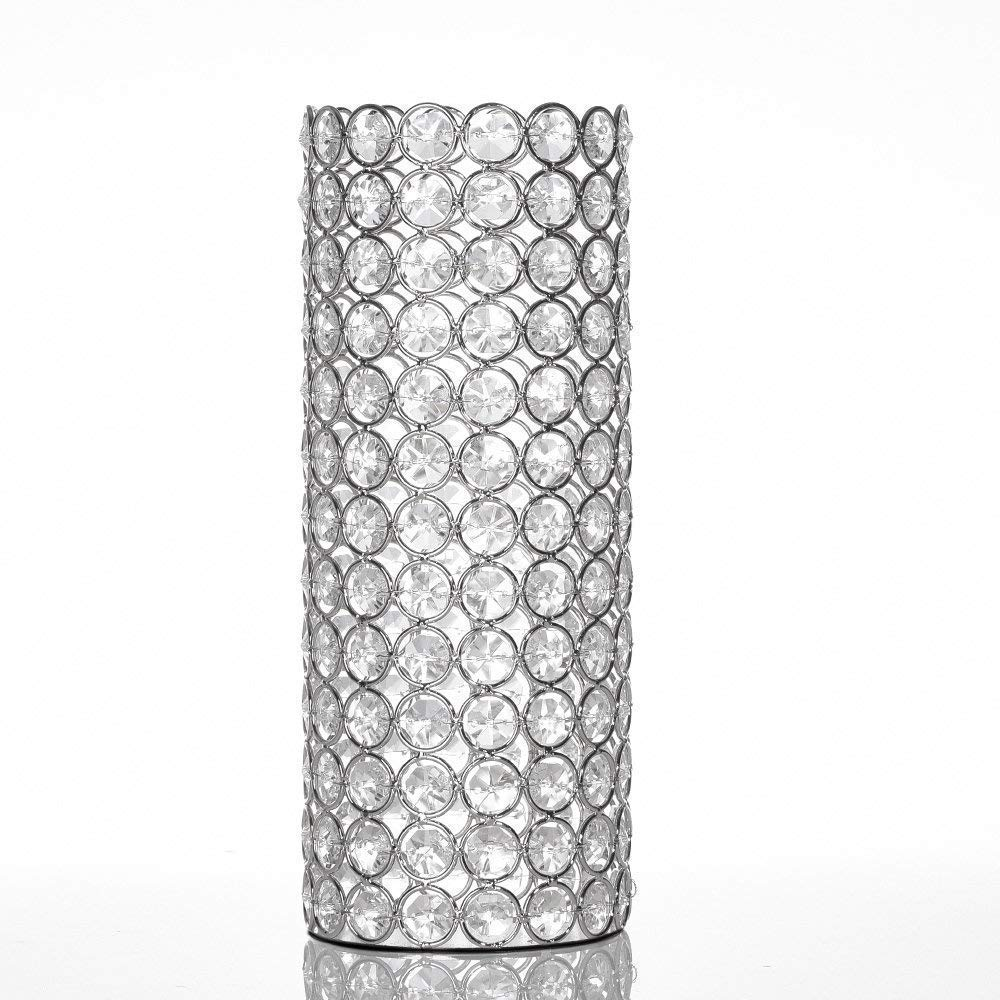 VINCIGANT Decorative Cylinder Flower Vases for Artificial Bouquet,Wedding Home Mothers Day Dining Room Table Decorative Centerpieces with Warm White String Light (Hollow)