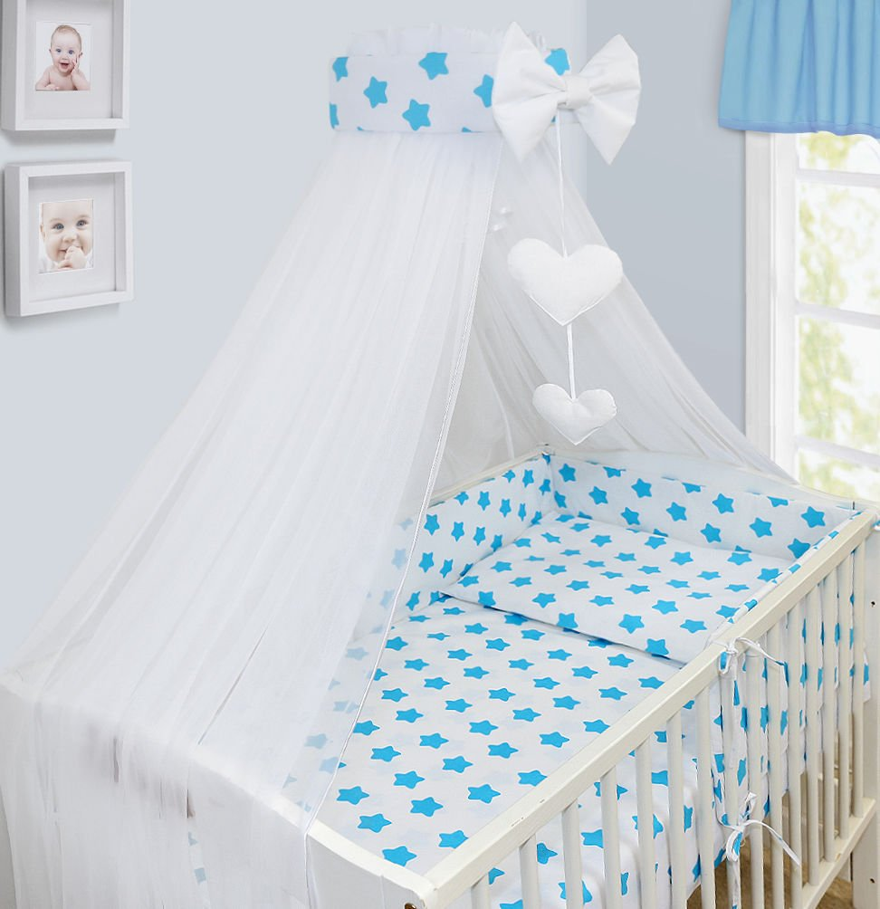 BABY CANOPY DRAPE MOSQUITO NET WITH HOLDER TO FIT COT & COT BED NEW DESIGNS (WHITE) Babymam