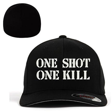 14ae889c28e Amazon.com  ONE SHOT ONE KILL Flexfit Baseball Cap Military Hat ...
