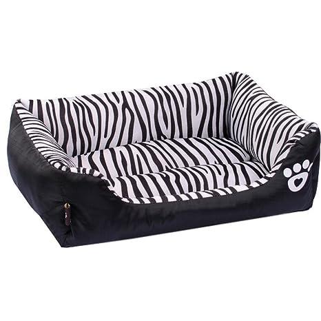 Weiwei Cama de Perro Cebra sofá Cama Perro Mat Franela Gato del Animal doméstico Nido Cordero