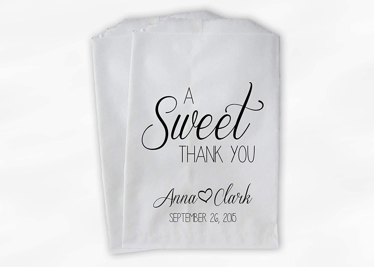 Marvelous A Sweet Thank You Wedding Favor Bags For Candy Buffet In Black And White Personalized Set Of 25 Paper Bags 0153 Download Free Architecture Designs Jebrpmadebymaigaardcom