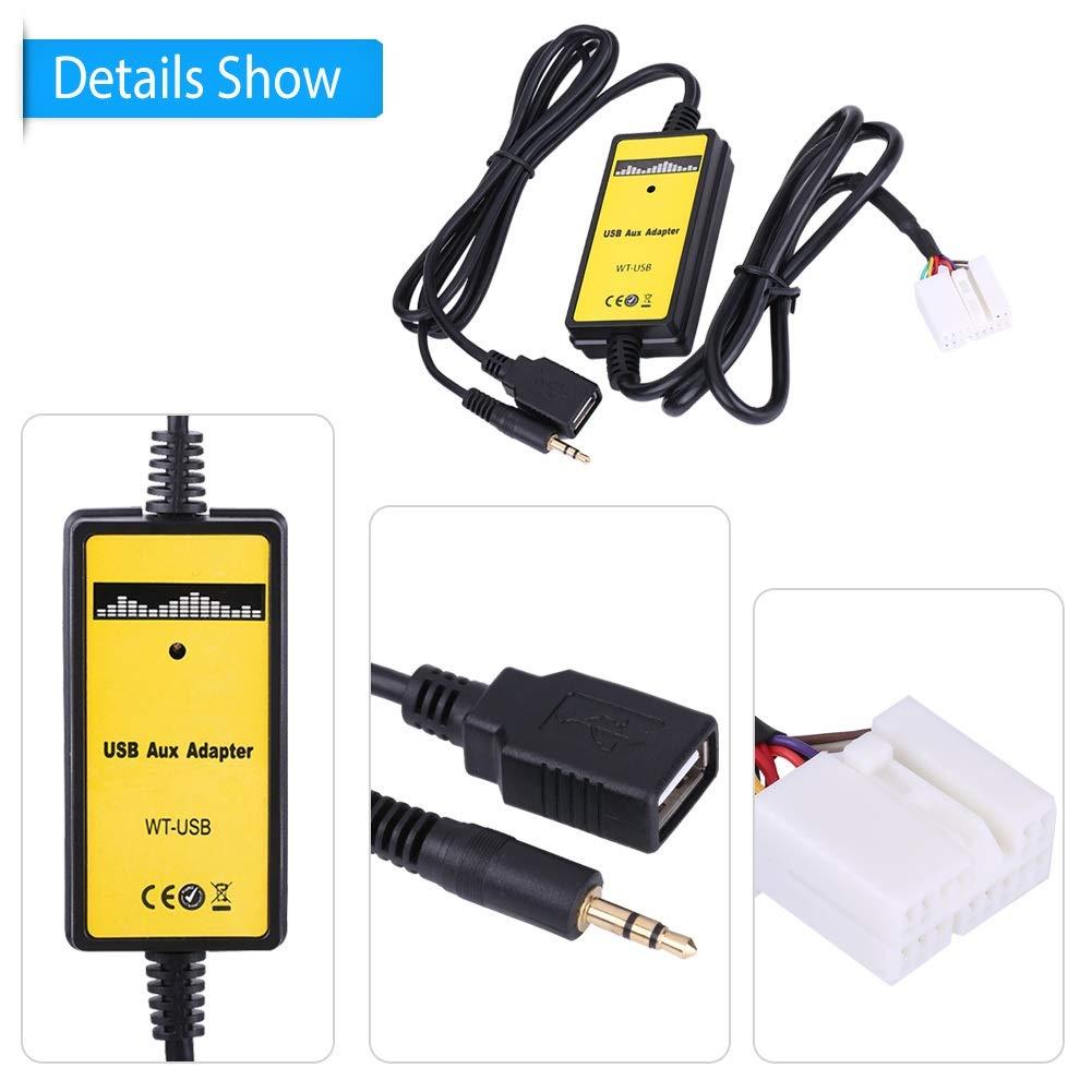 Auto-USB-Aux-In-Adapter MP3-Player-Kabel Radio-Audio-Schnittstelle f/ür Honda Accord Civic Odyss DEWIN Auto-MP3-Schnittstelle