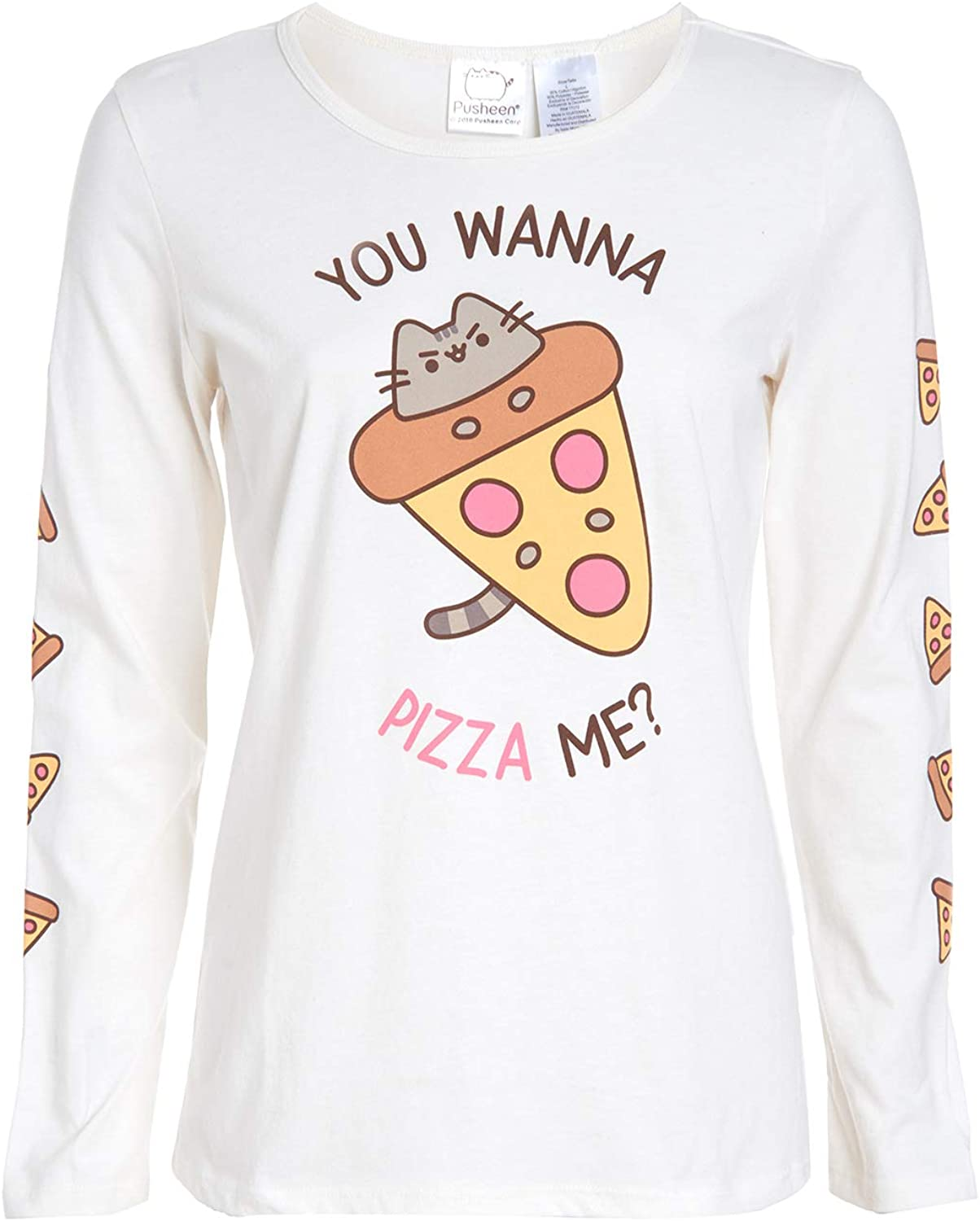 Pusheen Women's Longsleeve You Wanna Pizza Me Cat Meme Food T-Shirt