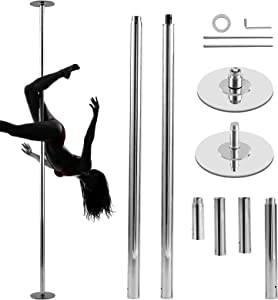 N\C Professional Stripper Pole Portable Removable Spinning Static Dancing Pole 45mm Bottom Height Adjustable Dance Pole Kit for Exercise Club Party Pub Home Fitness