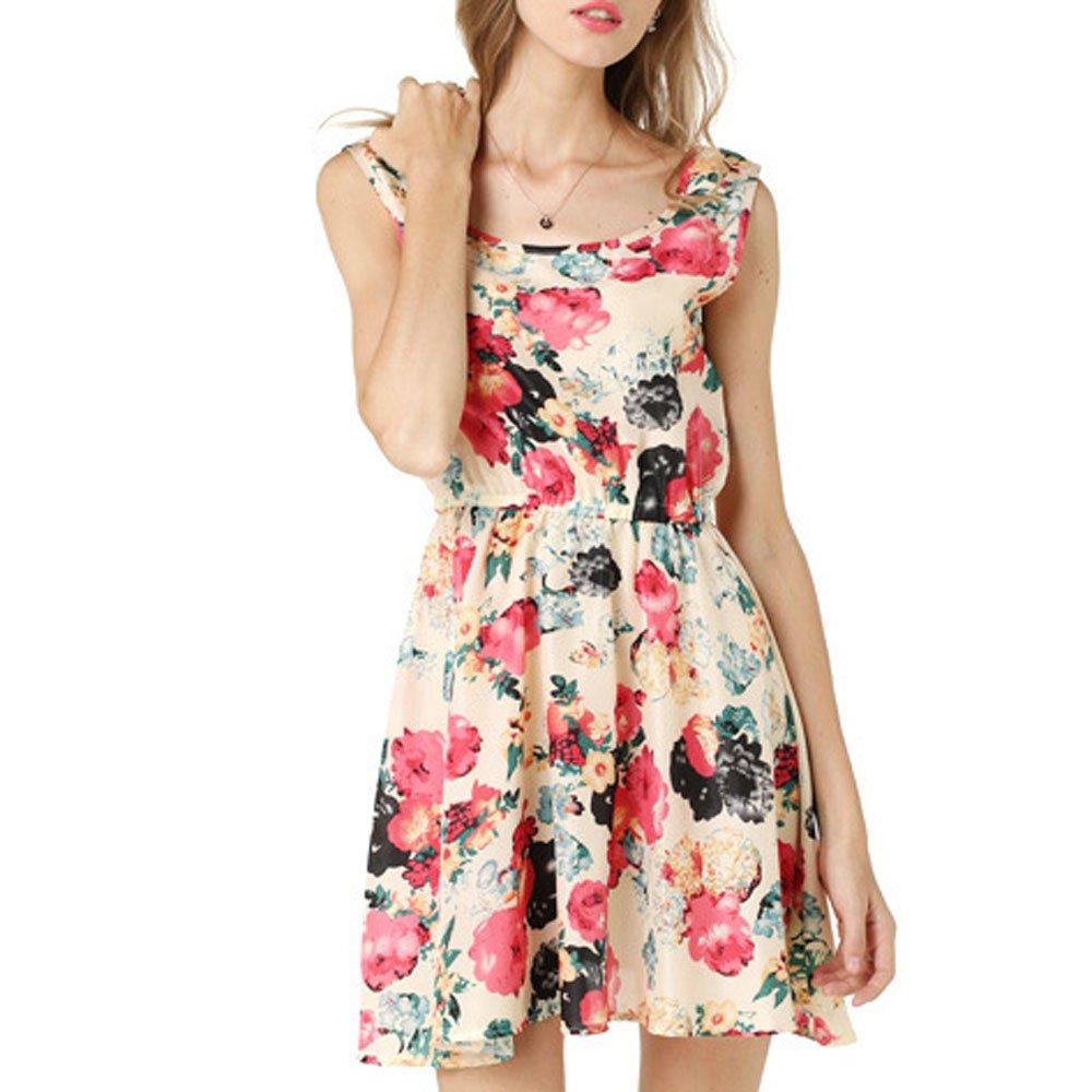aiNMkm Sleeveless Dress,Women Sleeveless Printing Chiffon Dresses Summer Beach Flower Vest Mini Dress,Beige,S