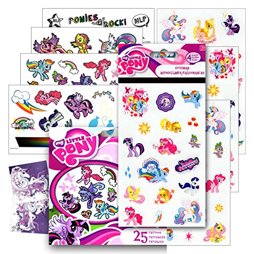 My Little Pony Stickers and Tattoos ~ Twilight Sparkle, Rainbow Dash, Fluttershy, Pinkie Pie, Applejack, Rarity, Spike the Dragon, Princess Celestia, and Princess Luna!