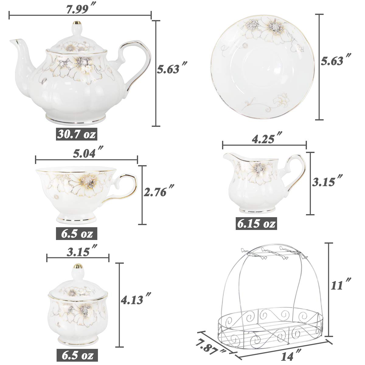 Porcelain Ceramic Coffee Tea Sets 15 Pieces with Metal Holder,Cups& Saucer Service for 6,with Teapot Sugar Bowl Cream Pitcher by CHP (Image #6)