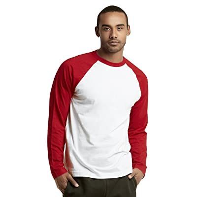 TOP PRO Men's Full Sleeve Casual Raglan Jersey Baseball Tee Shirt (S, Red/White - 1) at Men's Clothing store