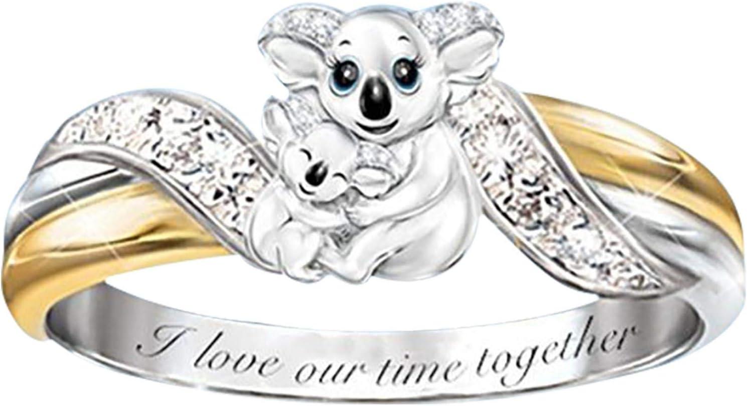 USStore Valentine's Day Jewelry Gift - Creative Cute Ring Animals Ladies Full Diamond Microinlaid Zircon Anniversary Rings (5, B)