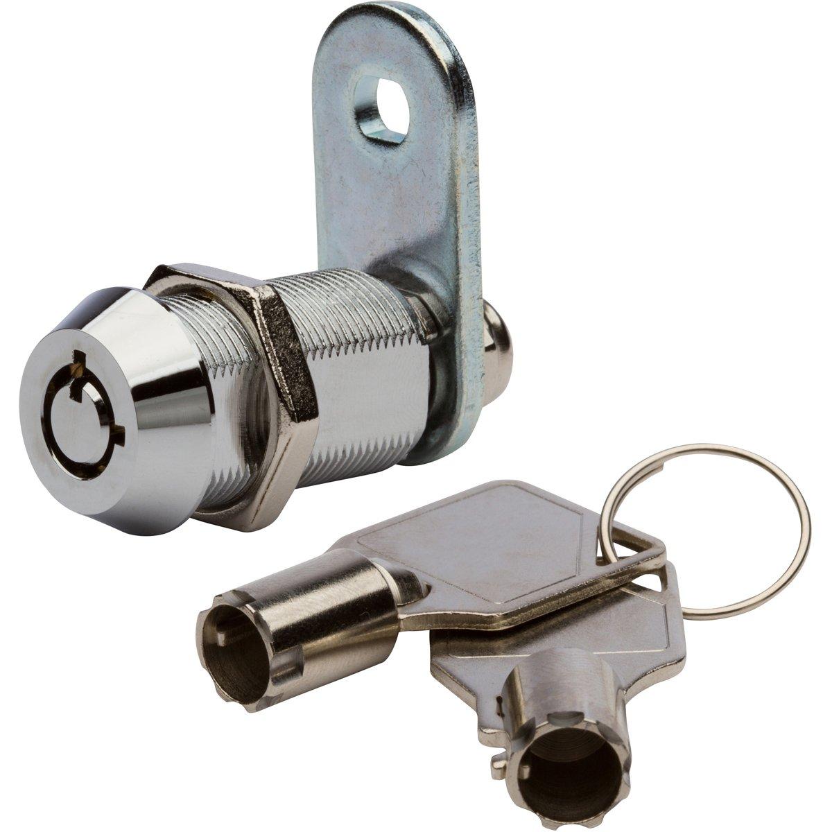 Tubular Cam Lock with 1 1/8'' Cylinder and Chrome Finish, Keyed Alike