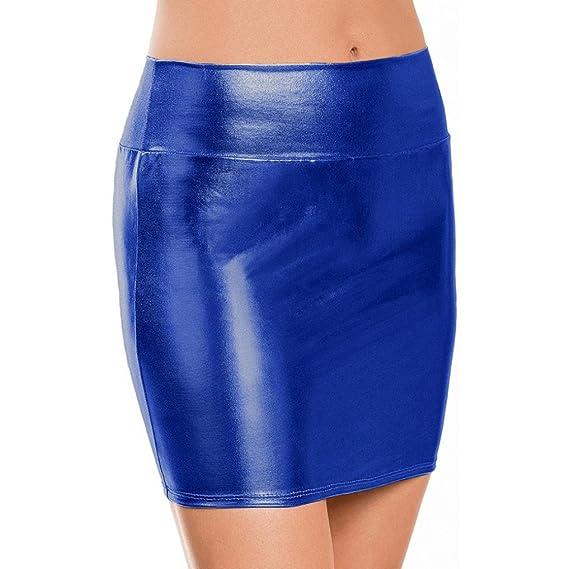 Gusspower Mini Falda Apretada de Cuero Moda para Mujeres elegante piel sintética de Talle Alto Clásico