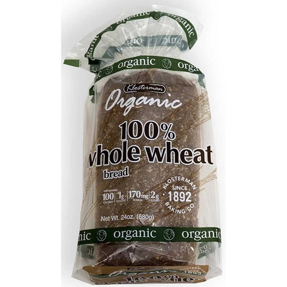 Klosterman Organic 100 Percent Whole Wheat Bread Loaves, 24 Ounce -- 10 per case.