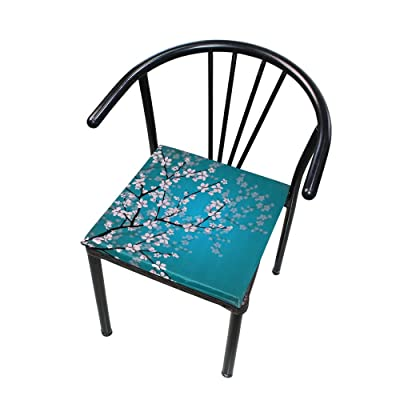 Bardic FICOO Home Patio Chair Cushion Japanese Cherry Blossom Square Cushion Non-Slip Memory Foam Outdoor Seat Cushion, 16x16 Inch: Home & Kitchen