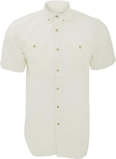 Cargo Bay - Camisa lisa Casual de manga corta Hombre caballero - Trabajo/Fiesta/Verano (Grande (L)/Crema): Amazon.es: Ropa y accesorios