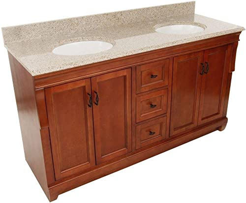 Foremost NACABG6122D Naples 61 W x 22 D Vanity with Granite Top in Beige with Double Bowls in White, Warm Cinnamon