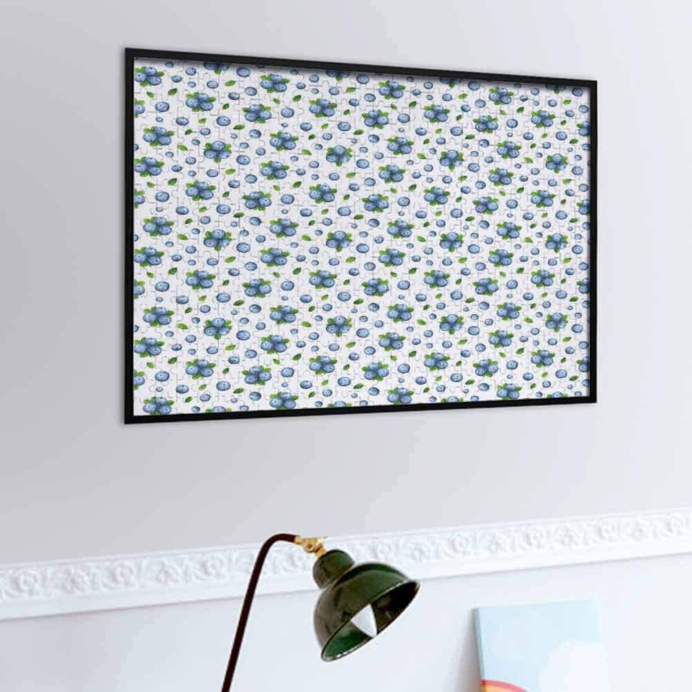 Kitchen Wall Jigsaw Puzzle Fresh Blueberries Ripe Juicy Fruits Summer Organics Food Painting Style – Challenging Family Activity, Great Gift Idea Blue Green White | 500-piece