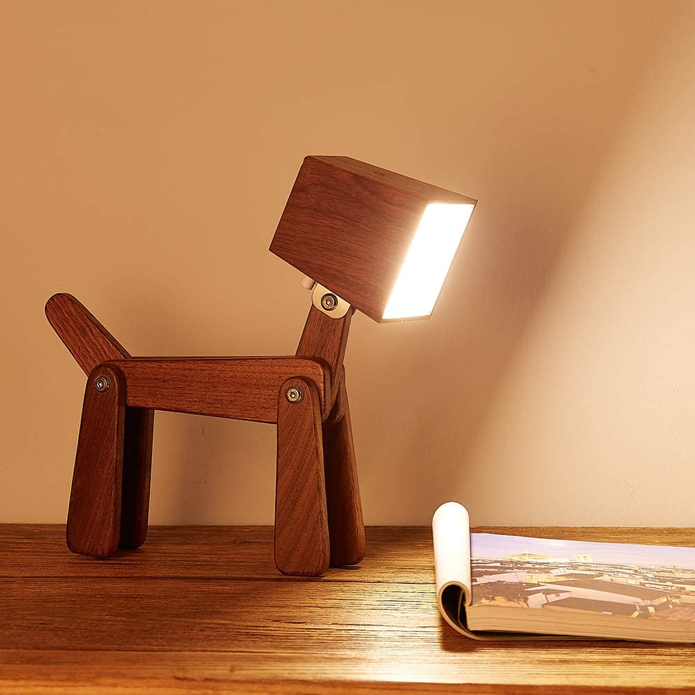 HROOME Cute Wooden Dog Design Adjustable Dimmable Bedside Table Lamp Touch Contr