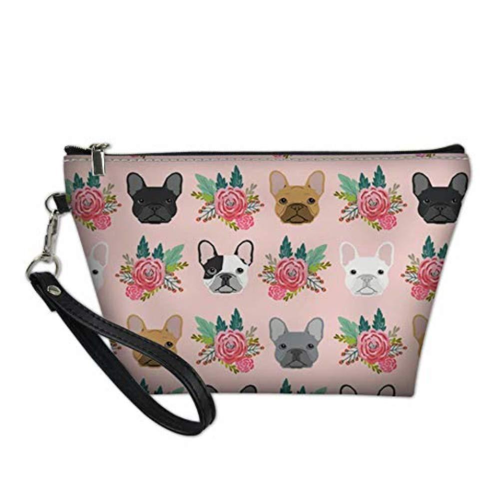UNICEU Women Fashion Toiletry Bag, Travel Accessories Cosmetic Makeup Purse Clutch Pouch French Bulldog Floral Print Portable Handbag Organizer Holder
