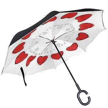 ALAZA amor reloj de círculos de corazón rojo paraguas invertido doble capa resistente al viento Reverse
