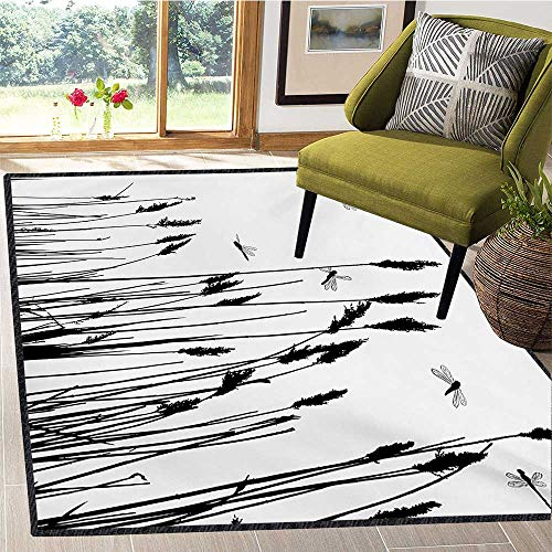 Dragonfly, Area Rug Mat, Wheat Field Autumn Agriculture Background Nature Harvest Bush Herbs Theme Art, Door Mats for Inside Non Slip Backing 5x6 Ft Black White (Autumn Rug Wheat)