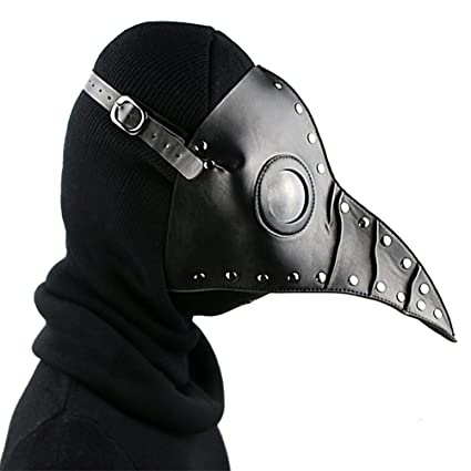 PU Leather Mask Plague Doctor Mask Halloween Props Leather Mask Costume Plague Bird Doctor Nose Cosplay