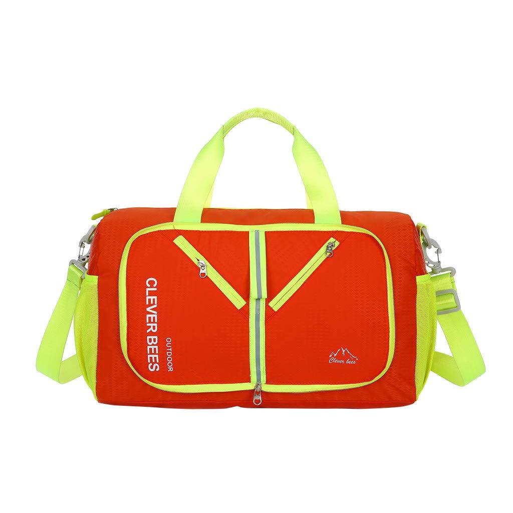 Dermanony Unisex Travel Storage Bag Collapsible Bag Shoulder Portable Outdoor Folding Bag Luggage Sport Shoulder Bags Orange by Dermanony _Bags