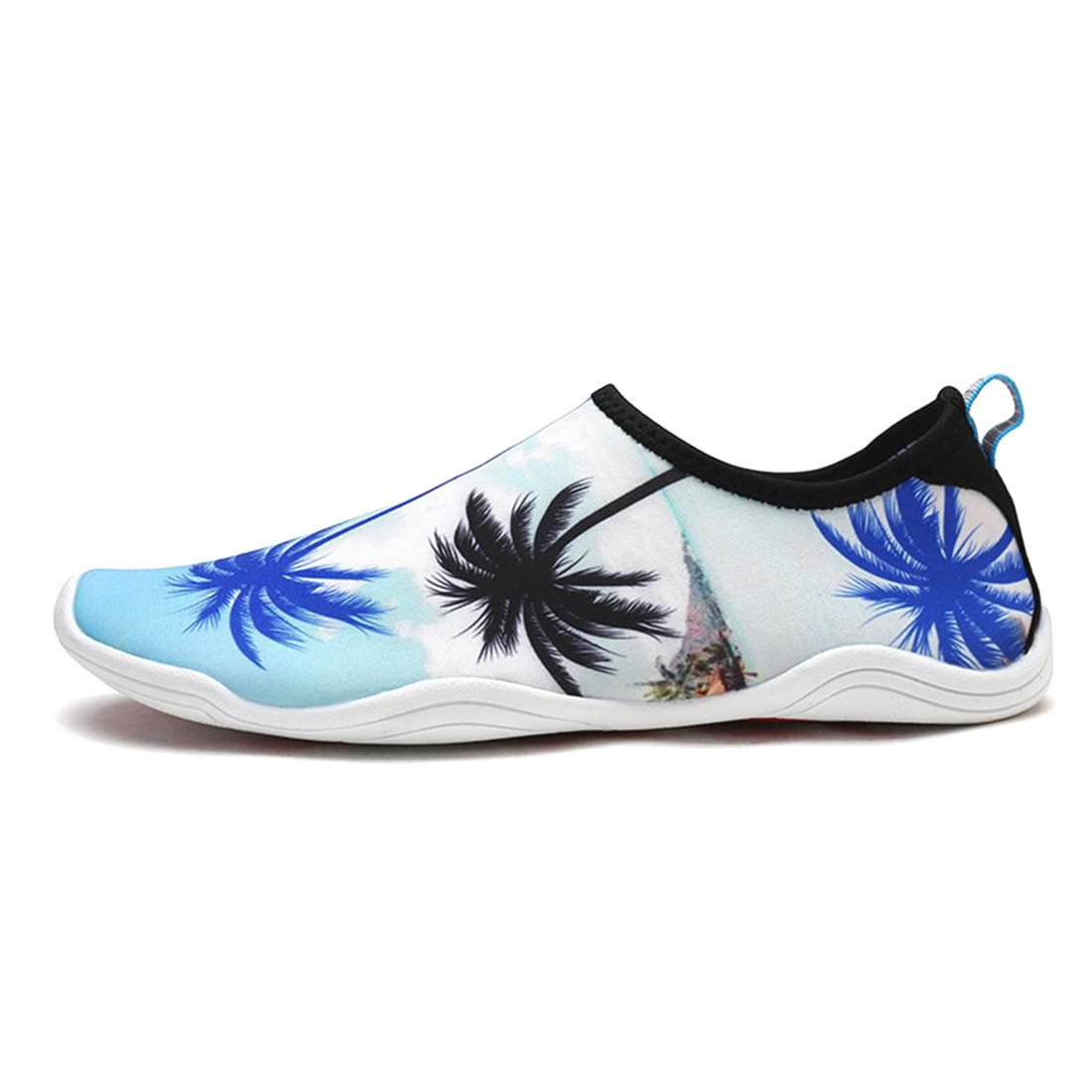 APTRO Womens and Mens Water Shoes Aqua Socks for Kayaking Hiking Rocky Beaches Palm Tree White US (W:8.5)-(Men:7.5)