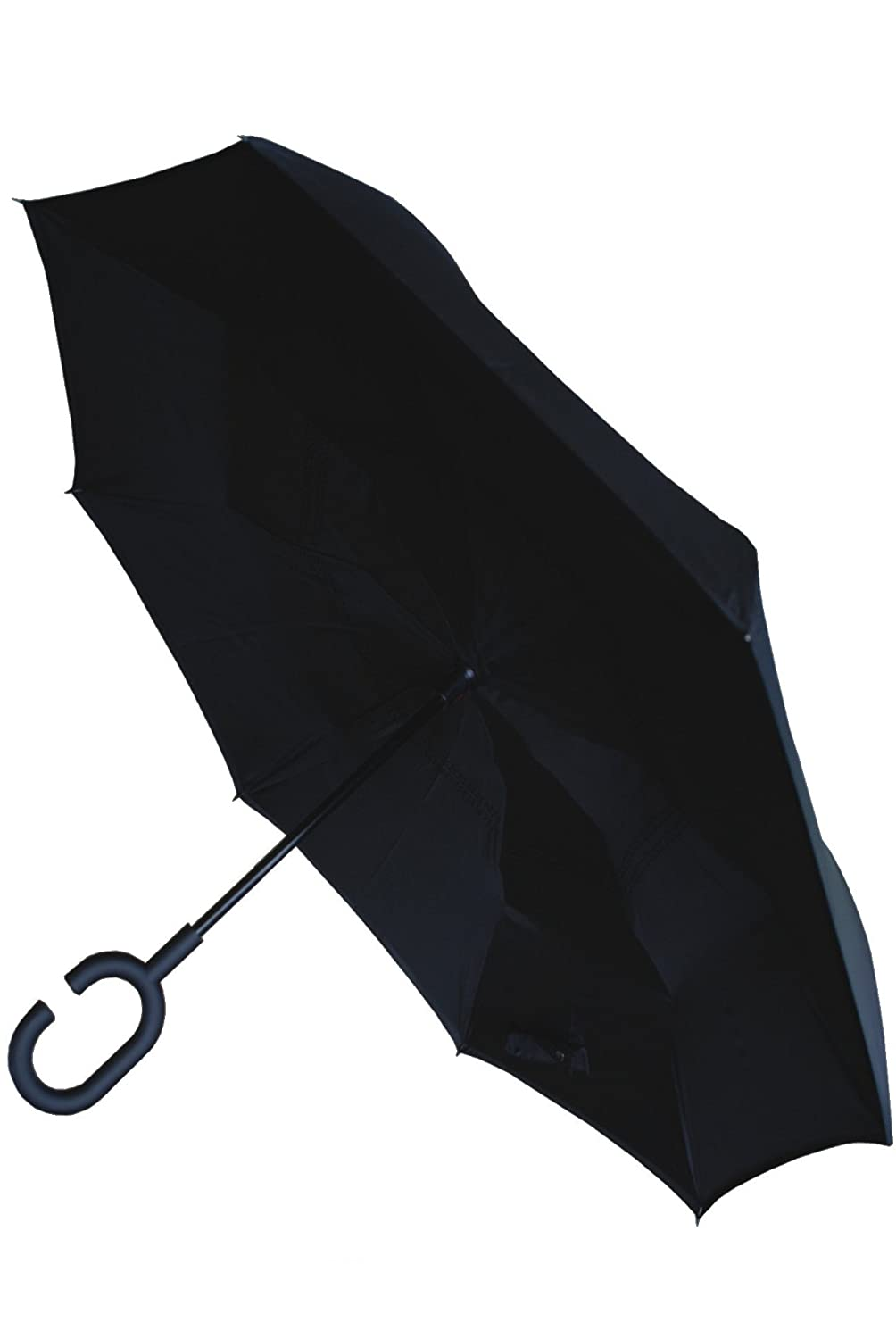 COLLAR AND CUFFS LONDON - Inside Out Windproof Extra Strong StormProtector StayDry Umbrella - Highly Engineered - Clever Reverse Design - Rain Stays Inside When Closed - C Handle – Black CCLSTORMPUMB10234