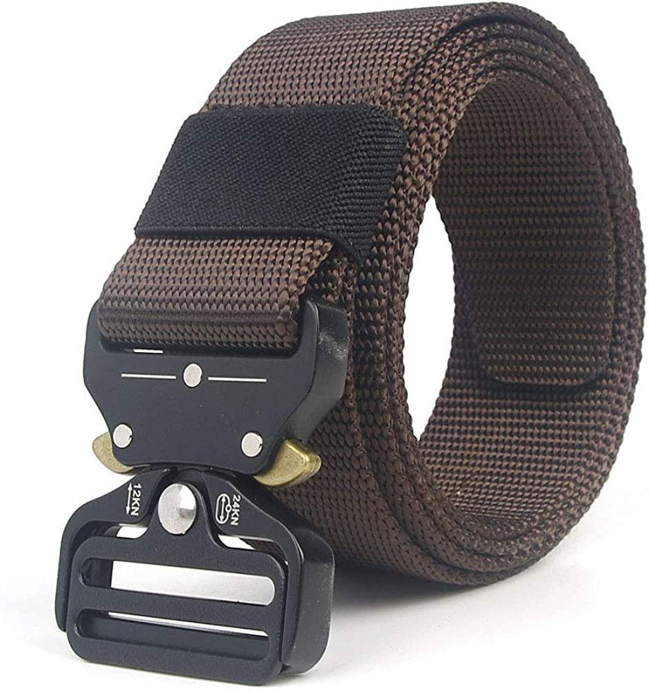 SELCNG Mens Military Tactical Belt Nylon Canvas Webbing YKK Plastic//Metal Buckle Belt