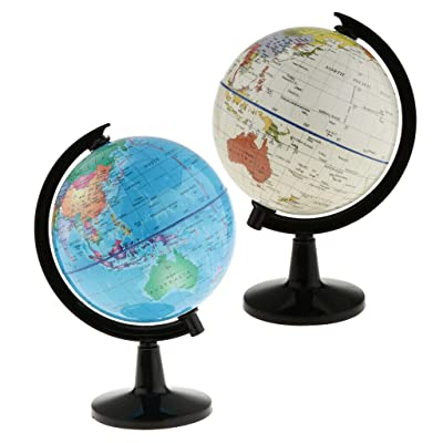 COMFORT INNOVATION 2PACK World Globe Map Ocean Geography Educational Toy Gift with Swivel Stand: Garden & Outdoor
