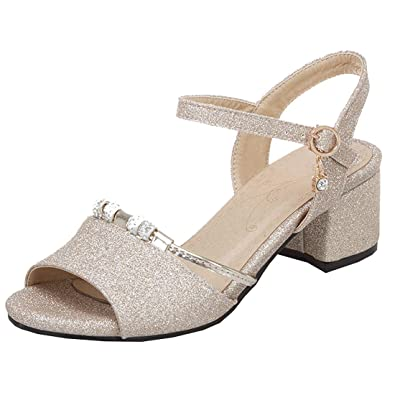 1599731d75613 Artfaerie Womens Glitter Peep Toe Sandals Chunky Heels Wedding Bridal Shoes  (UK2, Gold)