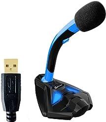 KLIM Voice Microphone à Pied USB pour Ordinateur - Micro de Bureau - Microphone de Gamer PC PS4 - Bleu - Nouvelle Version 2018