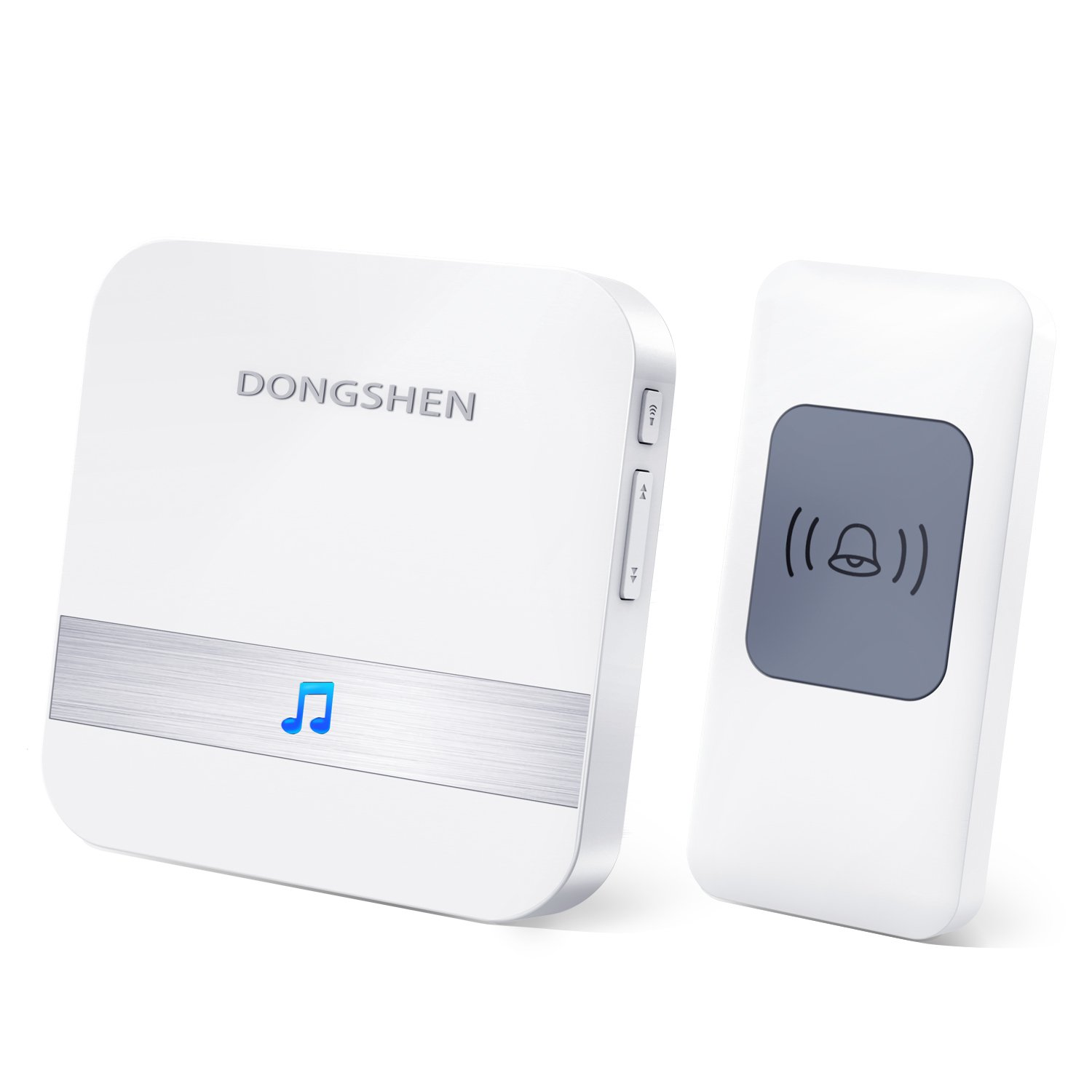 Wireless Doorbell Chime DONGSHEN Max 1000-feet Range with 52 Ringtones Garage Door Bell Flashing Light Hint 1 Remote Button and Plug-in Receiver No Batteries Required White