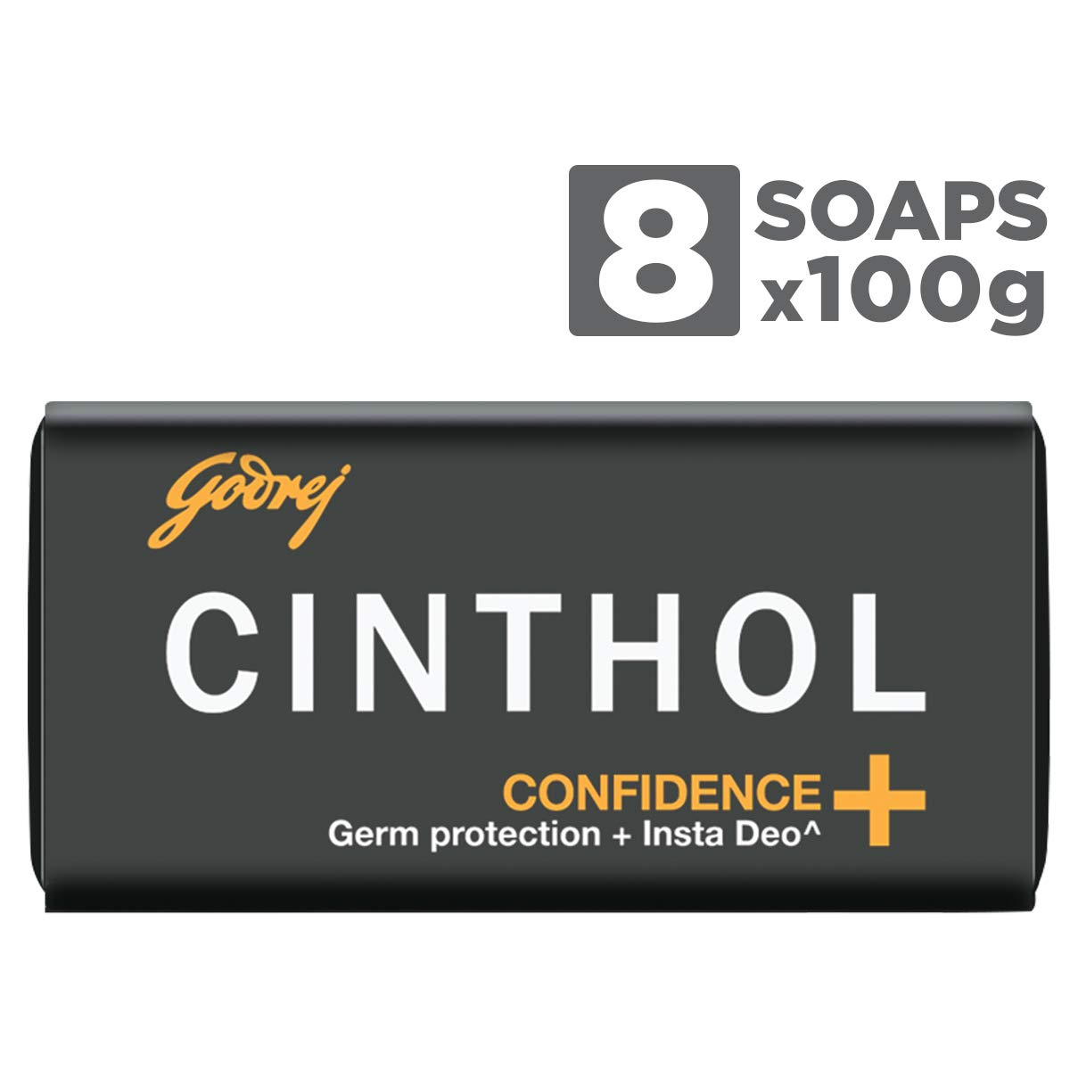 Cinthol Confidence+ Bath Soap – 99.9% Germ Protection, 100g (Pack of 8)