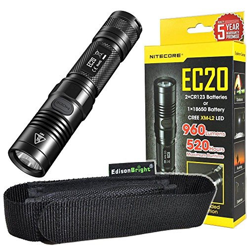 Nitecore EC20 960 Lumen CREE XM-L2 T6 LED Flashlight EDC with EdisonBright holster by Nitecore