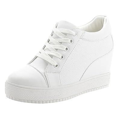 pretty cheap presenting new authentic wealsex Baskets Compensées Femme PU Cuir Mesh Dentelle Sneaker Chaussures  de Tennis