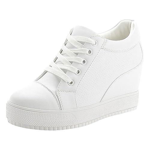 nouvelle arrivée acheter réel sélectionner pour officiel wealsex Baskets Compensées Femme PU Cuir Mesh Dentelle Sneaker Chaussures  de Tennis