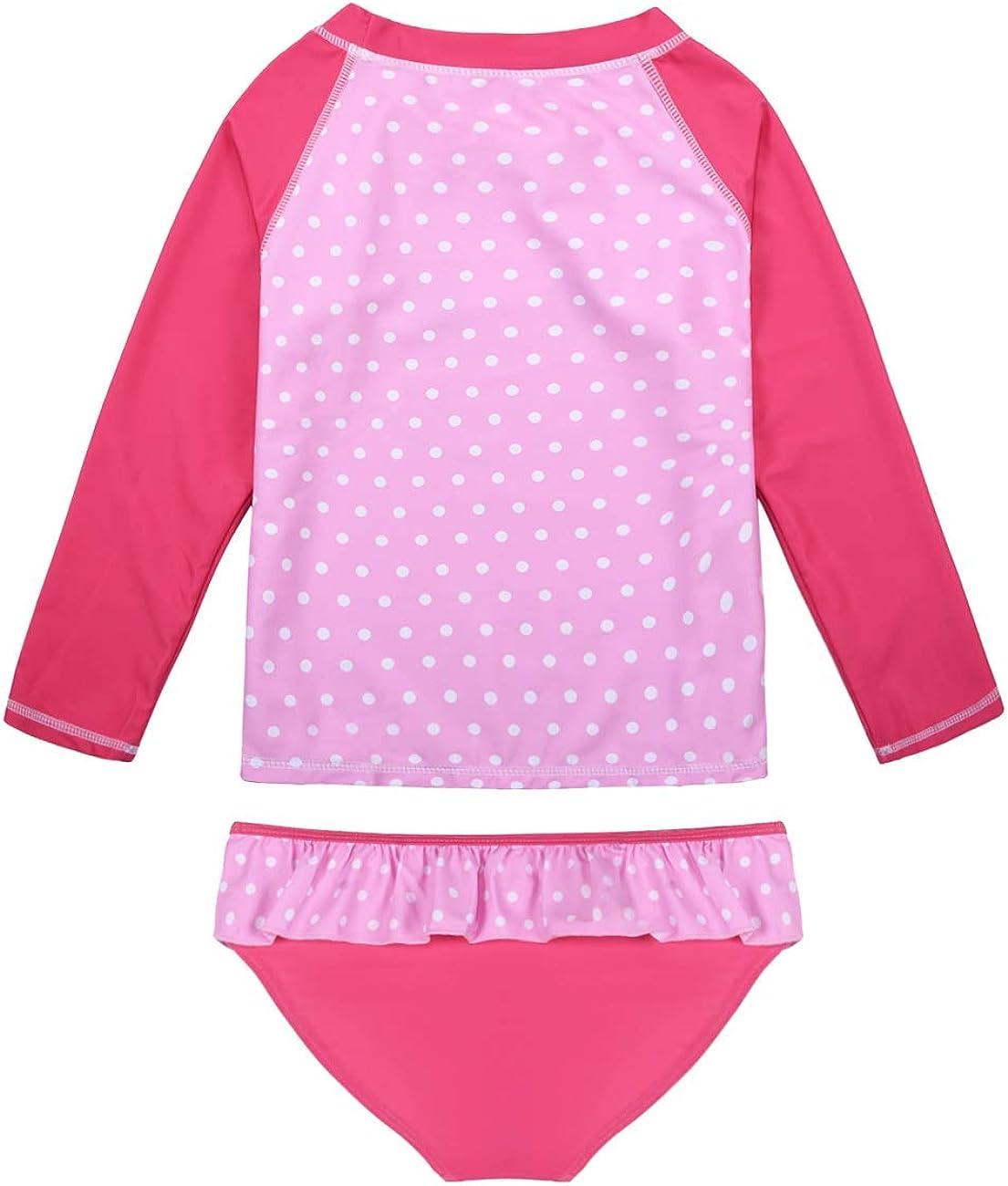 Hilor Girls Two Piece Swimsuits Long Sleeves Rashguard UPF 50 Tankini Set Bathing Suits