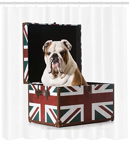 Ambesonne English Bulldog Shower Curtain Cute Sitting In Union Jack Britain Themed Box Patriotic