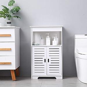 Home Furnishing Plaza 3-Tier Floor Storage Cabinet with Side Shelves White Floor Cabinet Multifunctional Bathroom Storage Organizer Rack Stand