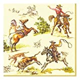 Ideal Home Range 20-Count Boston International 3-Ply Paper Cocktail Napkins, Cream Wild West