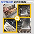 BBQ Smoker Box for Charcoal and Propane Gas Grill - Even THICKER Stainless Steel Wood Chip Smoker Set with MORE VENTS - Durable and Smokier Flavor - Grilling Accessories and Gifts for Dad by Silverius