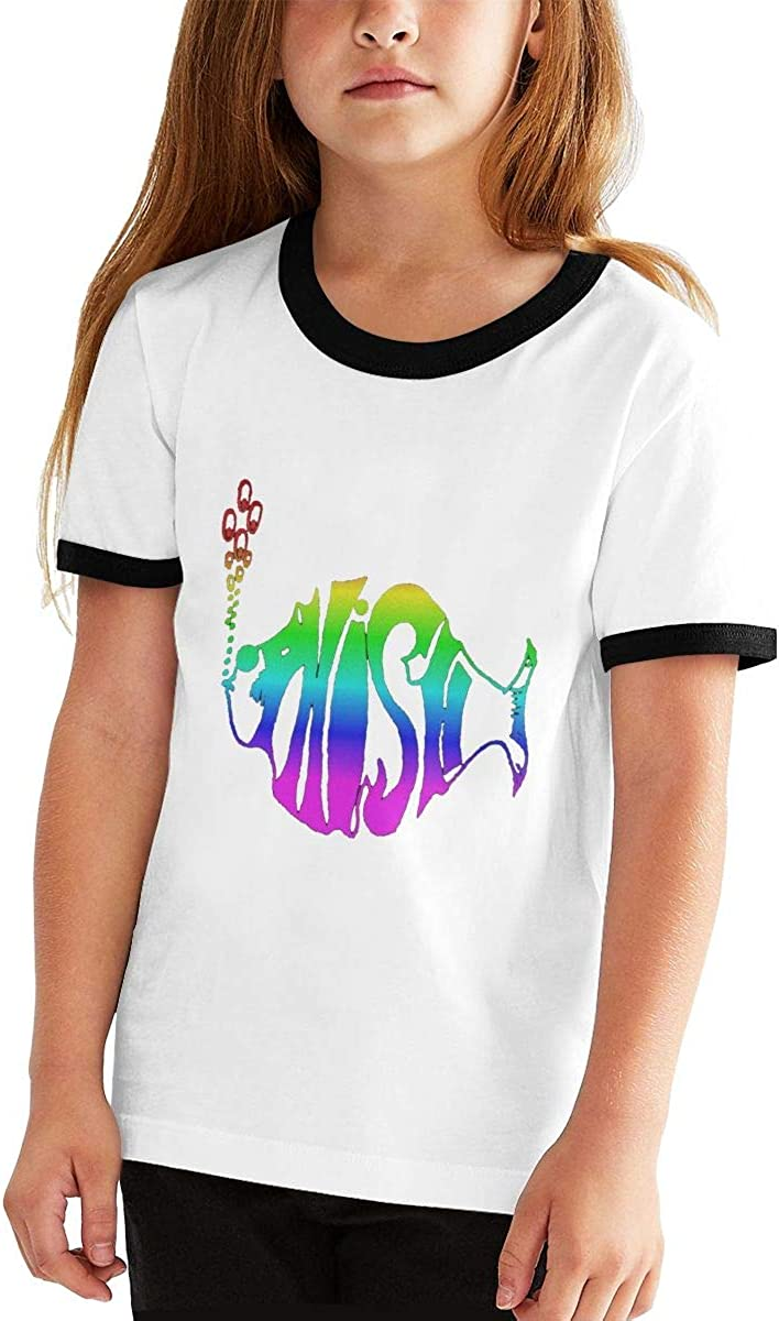 Angkella Phish Short-Sleeve Crew-Neck Cotton Jersey Tee for Boys Girls