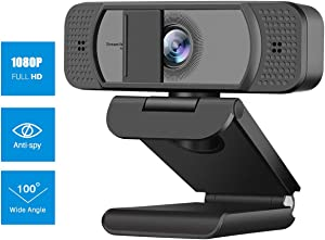 Webcam HD 1080p Web Camera,USB Camera with Microphone & Privacy Cover& 100°Wide Angle for Calling Recording Conferencing,PC Webcam for Zoom/YouTube/Skype etc.Compatible with Mac/OS/Windows