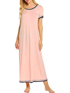 Ekouaer Sleepwear Women s Soft Scoopneck Nightshirt Short Sleeve Long  Nightgown Pajamas S-XXL 2ee61f564