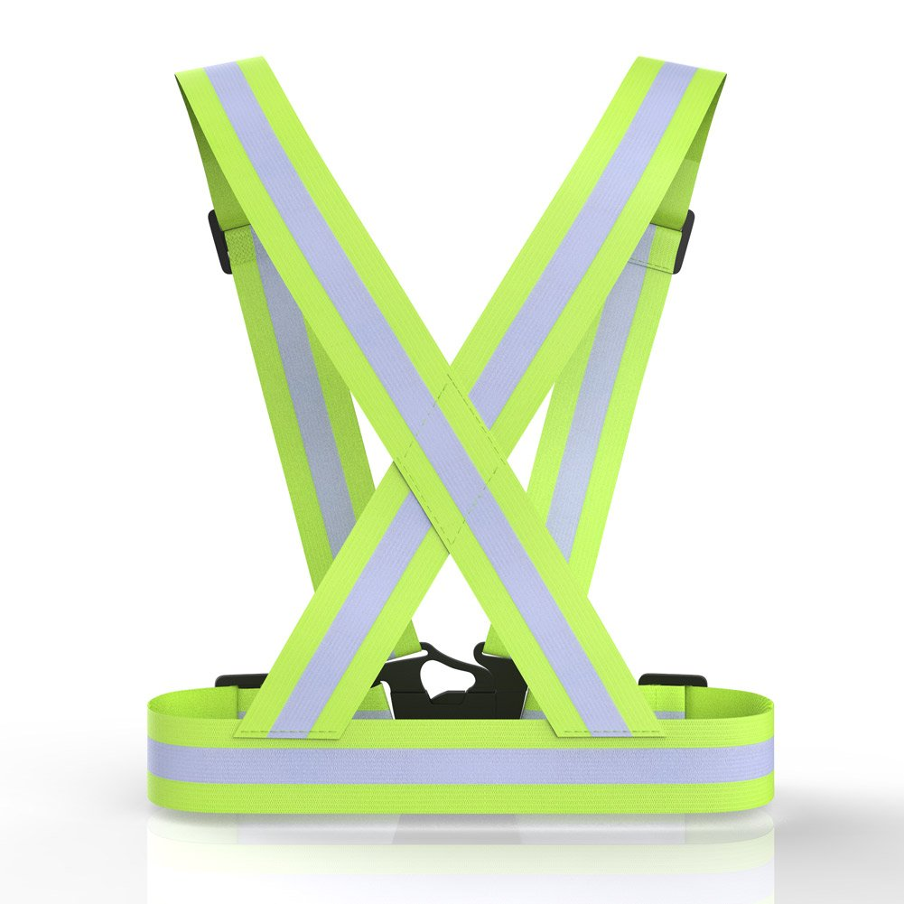 Walking Adjustable lightweight and High Visibility Belt for Outdoor Jogging Motorcycle Riding and Running Walking and Hiking MANLERSPORT Reflective Running Gear Cycling Ankle Bands Running Armband Reflective Safety Vest