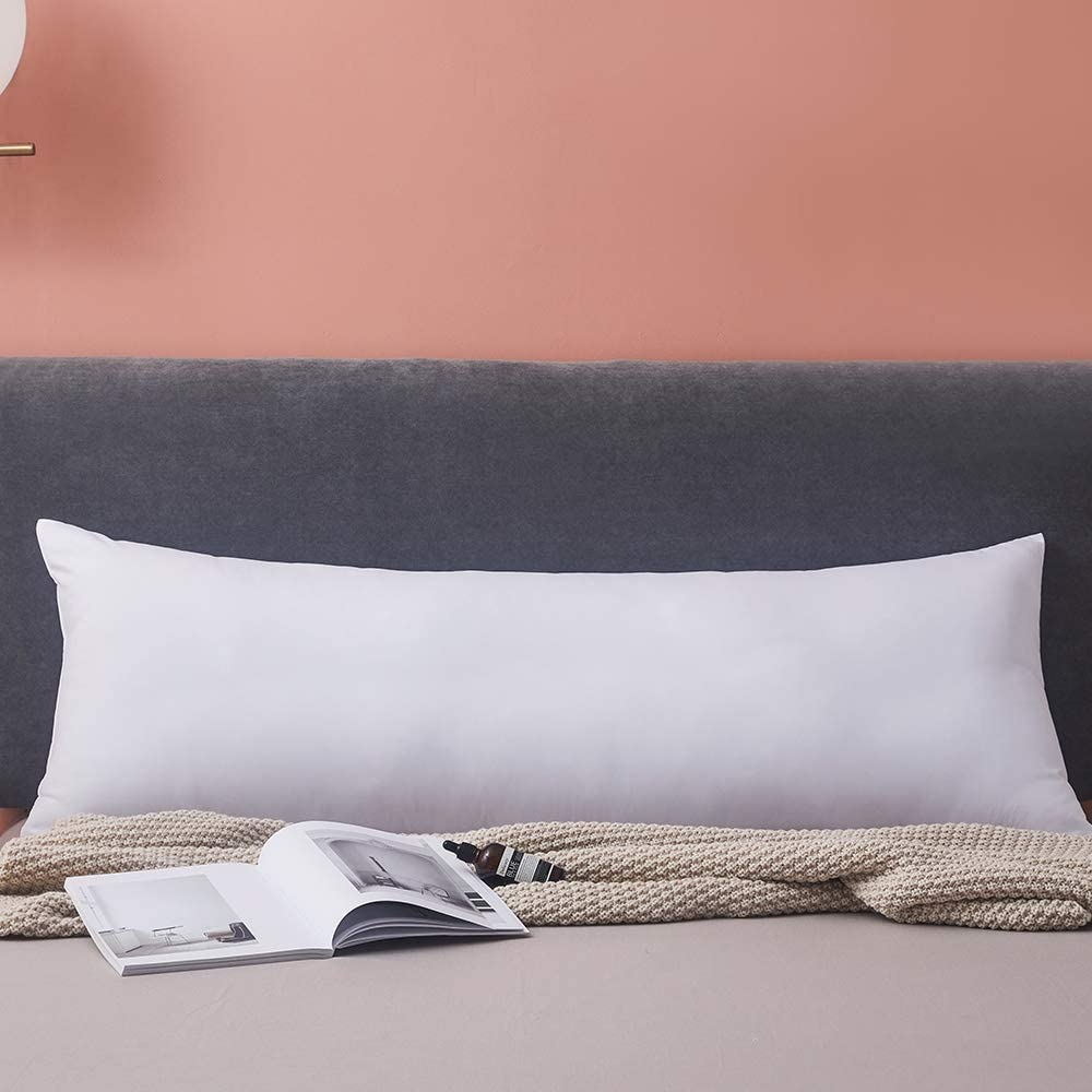 Yalamila Full Body Pillow for Adults-100% Polyester Body Pilllow Insert for Side Sleeper-Breathable White Long Pillow