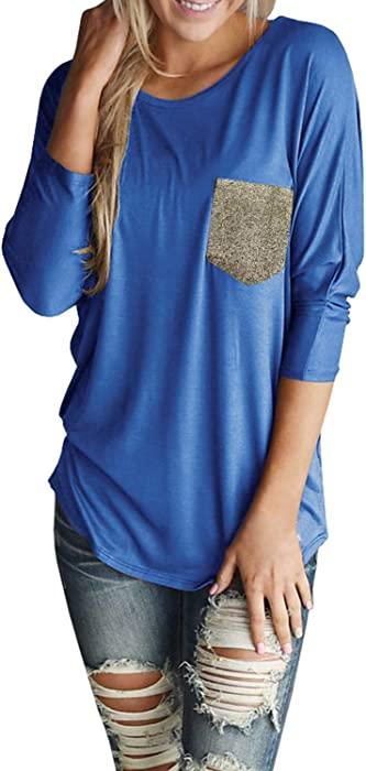 89b22506987 Jeanewpole1 Womens 3 4 Sleeve Crew Neck Casual Plain T Shirt Tunic Top With  Pockets