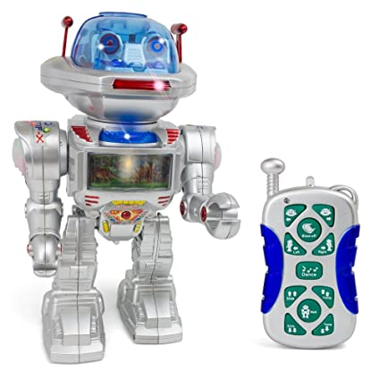 Giant Remote Control Robot Figure - Realistic Sounds and Lights - Assorted  Image Projection Function - Flying Disc