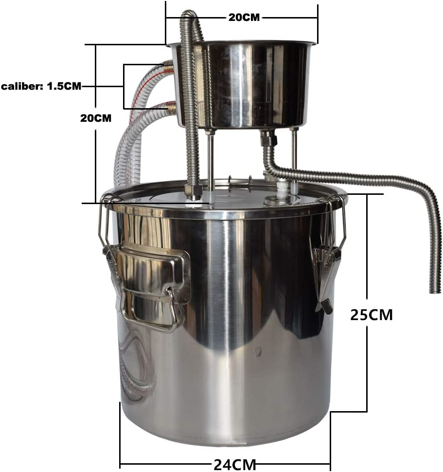 10L with Pump Home Distiller Moonshine Still Stainless Boiler Thermometer Wine Spirits Essential Oil Water Brewing Kit Water Distillation Kits